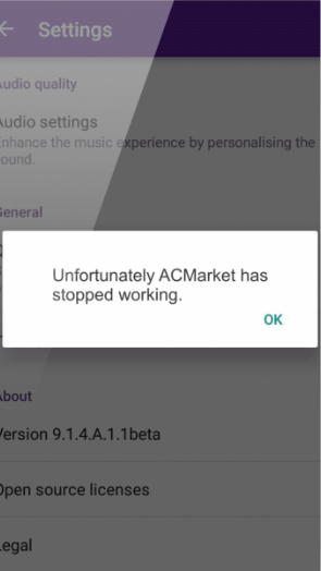 ACMarket has stopped working